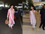 Fatima Sana Shaikh And Janhvi Kapoor Spotted At Airport In Pink
