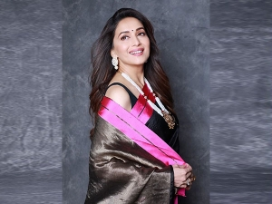 Madhuri Dixit Nene In A Raw Mango Sari For Dance Deewane