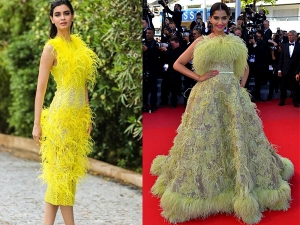 Diana Penty And Sonam Kapoor Ahuja In Yellow Feather Outfits