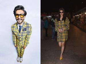 Ranveer Singh And Kriti Sanon In Plaid Outfits
