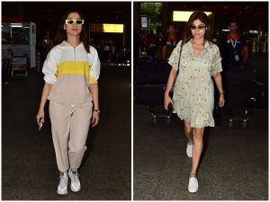 Tamannaah Bhatia And Shamita Shetty In Sporty And Floral Airport