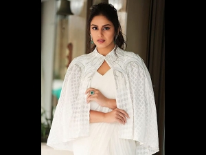 Huma Qureshi In A White Gaurav Gupta Sari At Cannes