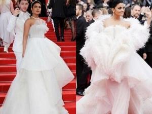 Aishwarya Priyanka In White Gowns At Cannes