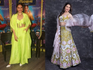 Sonakshi Sinha And Madhuri Dixit Nene In Festive Outfits