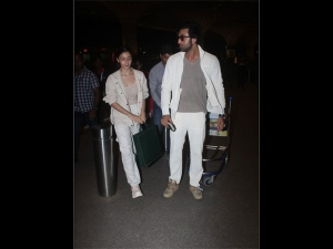 Alia And Ranbir Spotted At The Airport In White Outfits