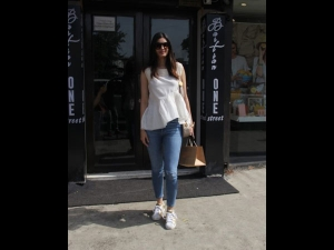 Diana Penty In A White And Blue Outfit