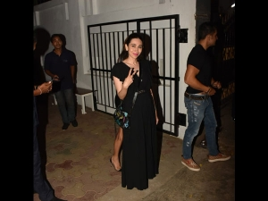 Karisma Kapoor Spotted In A Long Black Dress With Amrita Arora