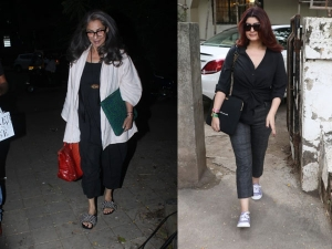 Dimple Kapadia And Twinkle Khanna Spotted In Black Outfits