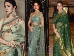 Anushka Sharma In A Green Sari For The Nbt Awards