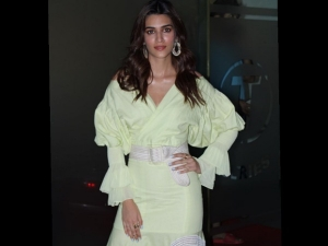 Kriti Sanon In A Green Dress For Arjun Patiala Promotions