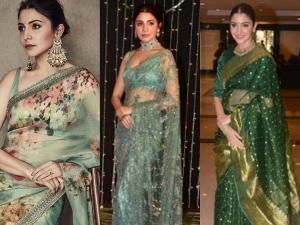 Anushka Sharma In A Green Sari For The Nbt Awards