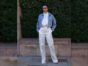 Shraddha Kapoor In A White Pantsuit For Saaho Promotions