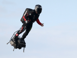 French Flying Man Franky Zapata Crosses English Channel On Jet Powered Hoverboard