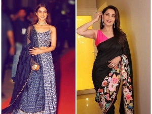 Madhuri Dixit Nene And Pranutan Bahl In Ethnic Outfits At Hum Aapke Hain Koun Screening