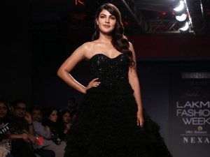 Rhea Chakraborty In A Black Gown At The Lakme Fashion Week Winter Festive