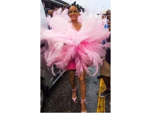 Rihanna Surprises In A Pink Feathery Costume At The Barbados Crop Festival