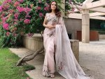 Dia Mirza In A Pink Floral Sari For Femail Summit