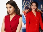 Sonam Kapoor Ahuja And Shraddha Kapoor In Red Suits