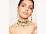 Oh Baby Actress Samantha Akkineni In A Green Lehenga At Shyamal And Bhumika S Store Launch