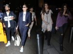 Virat Kohli Anushka Sharma And Kriti Sanon Nupur Sanon Spotted At Mumbai Airport In Coordinated