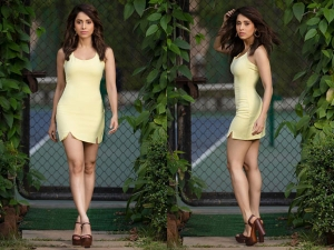 Dream Girl Actress Nushrat Bharucha In Dramatic Orange Black Dress And A Classic Yellow Dress