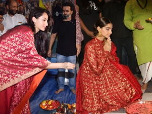 Sonam Kapoor Ahuja And Nora Fatehi In Traditional Attires At Ganpati Celebrations
