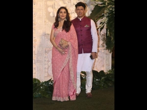 Madhuri Dixit Looked Glamourous At Ganpati Celebrations In A Pink Sari