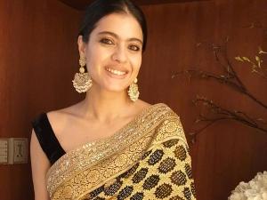 Kajol Wore A Black And Golden Sari For Ganesh Chaturthi
