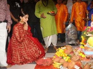 Sonam Kapoor Ahuja In A Red Anarkali Suit For The Ganpati Puja In Andheri