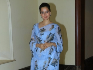 Kangana Ranaut In A Blue Sari For The Cauvery Calling Event