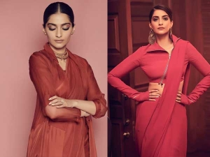 Neerja Actress Sonam Kapoor Ahuja In Red Saris For The Zoya Factor Promotions