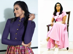 Badminton Player Pv Sindhu In A Pink Western And Multi Hued Fusion Outfits