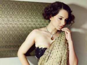 Kangana Ranaut In A Glittering Golden Sari For An Award Show In Thailand