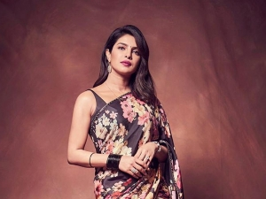 Priyanka Chopra Jonas In A Sabyasachi Black Floral Sari For The Sky Is Pink Promotions