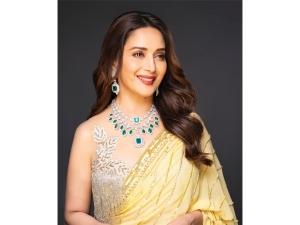 Madhuri Dixit Nene In A Manish Malhotra Yellow Sari For Dance Deewane