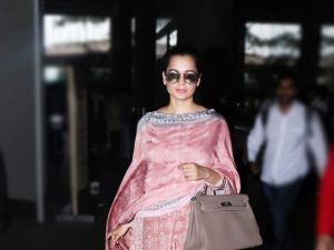 Manikarnika Actress Kangana Ranaut In A Pink Grey Salwar Suit At Mumbai Airport