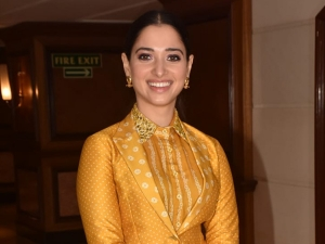Tamannaah Bhatia In A Mustard Traditional Outfit For Sye Raa Narasimha Reddy Promotions