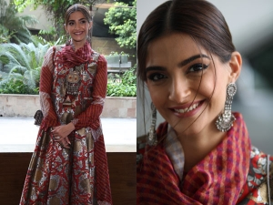 Sonam Kapoor Ahuja In A Red Patterned Outfit For The Zoya Factor Promotions
