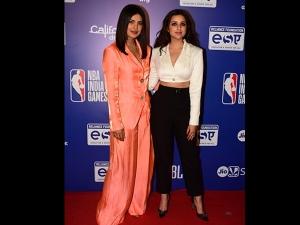Priyanka Chopra Jonas And Parineeti Chopra In Pants For The Nba Event