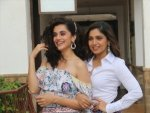 Taapsee Pannu And Bhumi Pednekar In Skirt And Top Set At Saand Ki Aankh Promotions