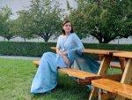 Sanju Actress Dia Mirza In An Elegant Sky Blue Sari For Un Climate Summit