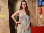 Dia Mirza In A Powder Blue Suit By Anita Dongre For Diwali Celebration