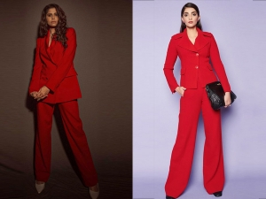 Sai Tamnhankar Sonam Kapoor Ahuja And Other Divas In Red Pantsuits