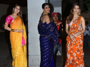 Sara Ali Khan Kajol Devgan And Kriti Sanon In Saris For Diwali Bash