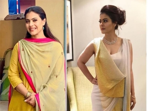 Kajol In A Yellow Traditional Suit And In A White And Golden Concept Sari