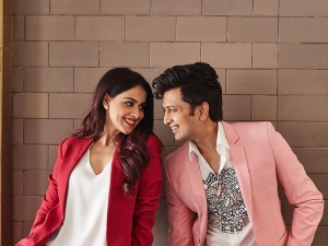 Riteish Deshmukh In Pink Pantsuit And Genelia Deshmukh In Red Pantsuits Photoshoot