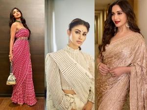 Bollywood Divas Madhuri Dixit Shilpa Shetty And Mouni Roy In Saris