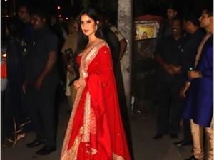 Sooryavanshi Actress Katrina Kaif In A Red Lehenga By Sabyasachi At Bachchan S Diwali Bash