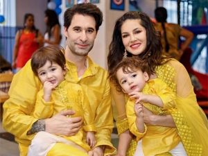 Sunny Leone And Family In Sunshine Yellow Ethnic Outfits On Diwali