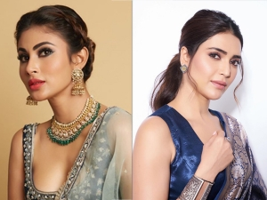 Blue Ethnic Outfits For Wedding Season By Karishma Tanna And Mouni Roy
